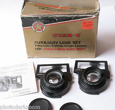 Star-D Auxiliary Lens Set Tele Wide for Canon New Sure Shot -Good Glass USED D44