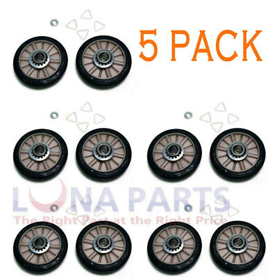 5 Pack *New* 349241T 349241 Dryer Drum Roller Kit Fits Whirlpool Kenmore Sears