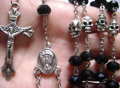 Tibet Silver Skull Black Beads Rosary Necklace cross Crucifix Catholic necklace