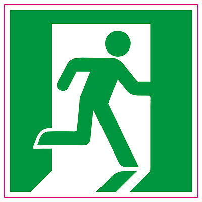 Fire Exit Running Man RIGHT GREEN Sign Stickers Health and safety 100x100mm