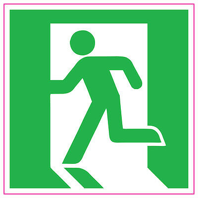 Fire Exit Running Man LEFT GREEN Sign Stickers health and safety 100x100mm