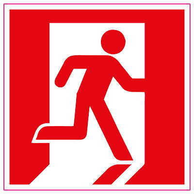 Fire Exit Running Man RIGHT RED Sign/Stickers, health and safety, warning