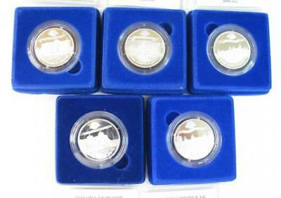 Rare Set Lot 5 Silver Coins Transnistria Fortress 100 Rubles 1000 Pcs Ceo