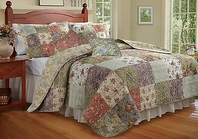 Beautiful Xxl Oversized Antique Vintage Green Ivory Floral Bedspread Set King Sz