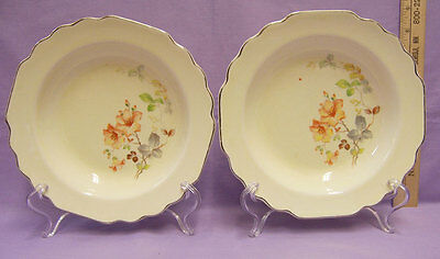Vintage Pair Bowls W.S. WS George Lido Canarytone USA Made Yellow Flower Design
