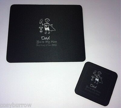 Dad Your My Hero Mouse Pad & Coaster Fathers Day Gift-BBQ