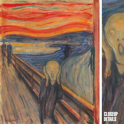 """28""""x36"""" THE SCREAM by EDVARD MUNCH FAMOUS CLASSIC EMOTIONAL TERROR COLORS CANVAS"""