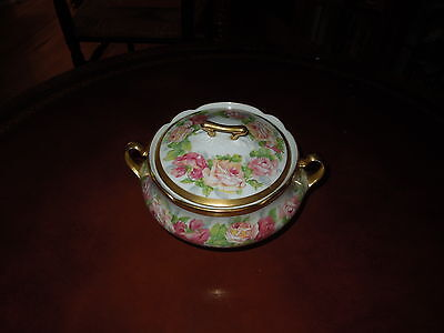 Limoges Footed Covered Candy jar Coronet Mark 1 1906-1920 Antique
