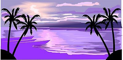 LICENSE PLATES -  SUNSET PALMS - PURPLE - PERSONLIZED FREE- FRAME INCLUDED FREE!