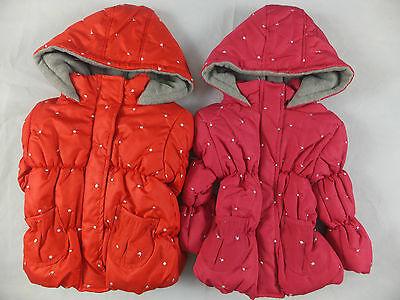 NEW BABY GIRL PADDED HOODED BUBBLE COAT/JACKET EMBROIDERY RED & FUSHIA12mts-7yr