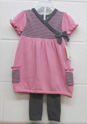 Girls Toddlers Pink Grey Dress with Leggings Suit Set new Gillians Closet