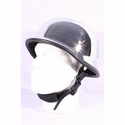 Classic German Motorcycle Motorbike Cruiser Bike Open Face Scooter Helmet Silver