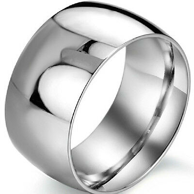 12MM Stainless Steel Ring SZ 7-15 Wedding Engagement Biker Cocktail Father Gifts