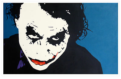 HEATH LEDGER*JOKER*DARK KNIGHT*BATMAN POP ART BILD*XXL*115x70cm*HANDGEMALT