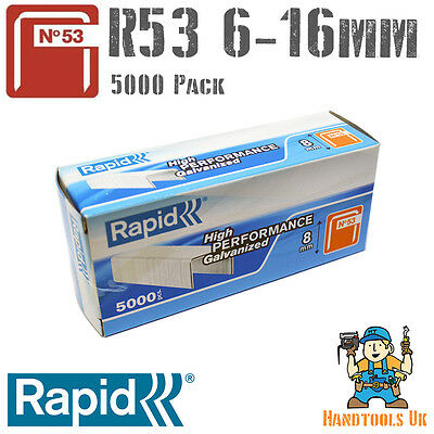 Rapid 53 Series Staples 5000 Box Galvanized Steel 6, 8,10, 12, 14 & 16mm (R53)