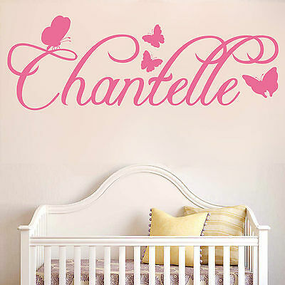 PERSONALISED NAME With Butterflies | Wall Sticker Decal Calligraphy Posh | N16