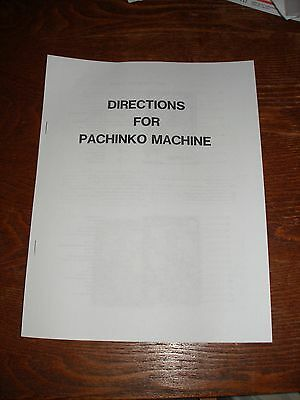 Pachinko Machine Directions / Instructions / Manual