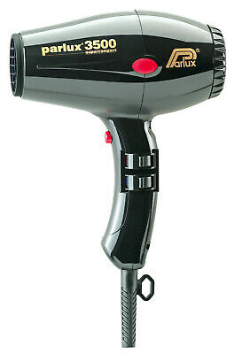 Parlux Compact 3500 Turbo Hair Dryer Black includes 2 nozzles