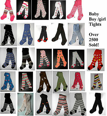 BNWT Baby Boy girl tights different colours pattern 0-6-12-24 Months