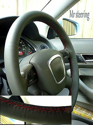 Fits Audi A4 B7 05-08 Dark Grey Italian Leather Steering Wheel Cover Red Stitch