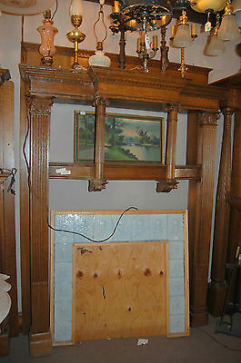 Antique Quarter Sawn Oak Fireplace Mantel  Columns Detailed Carvings
