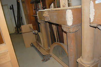 Nice Antique Quarter Sawn Oak Fireplace Mantel  Ornate Plaster Work Large Column