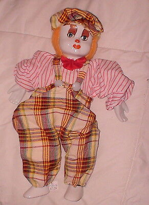 """Clown Doll Porcelain Hand Painted Face Hands Feet Cloth Body Weighted Bottom 13"""""""