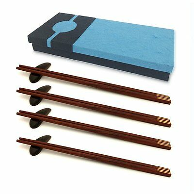 4 Pairs of Handmade Wooden Square Chopsticks 4 Wooden Rests in a Gift Box Set