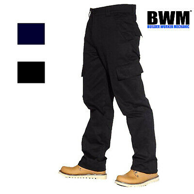 NEW Mens Combat Cargo Work Trousers Size 28 to 52 With Knee Pad Pockets By BWM