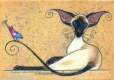 Large Unmounted Siamese Cat & Zosterops Bird Painting Print By Suzanne Le Good