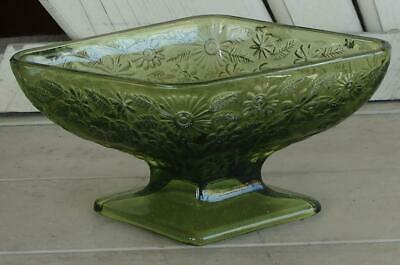 Nice Vintage Pressed Glass Avocado Green Footed Relish Dish, VERY GOOD CONDITION