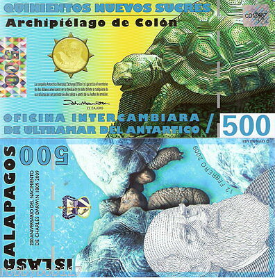 GALAPAGOS 500 Sucre Banknote World Money Currency BILL Turtle Darwin FUN Note