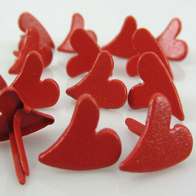100pcs Red Heart Shaped Brads Mini Stamping For Craft Scrapbooking 12 x 11mm