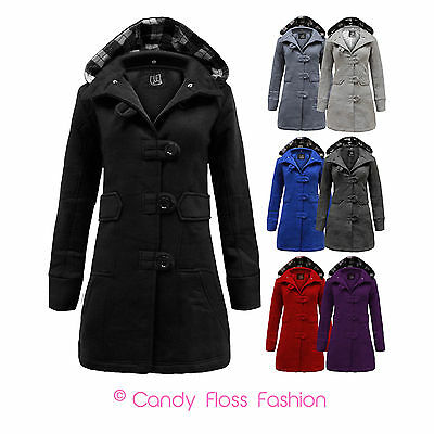 New Womens Button Hooded Belted Fleece Jacket Ladies Coat Top Sizes 8 10 12 14