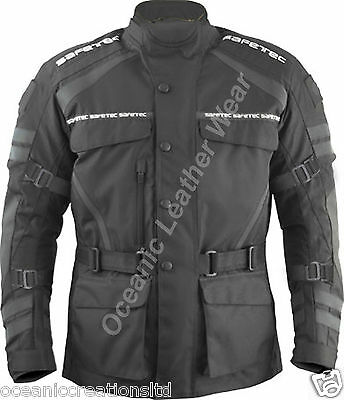 Mens Black Waterproof CE Armoured Motor Cycle Bike Cordura Textile Jacket