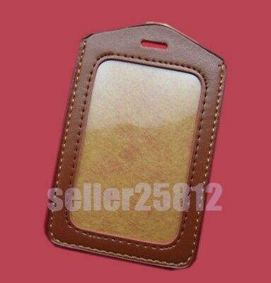 2 Business ID Credit Card Badge Holder Clear Plastic Pouch Case PU Leather Trim