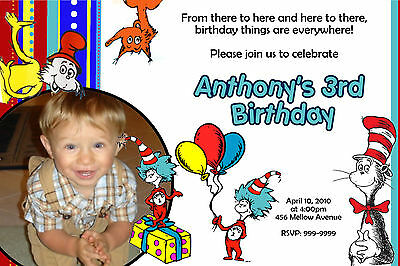 Dr Seuss  Birthday Invitations U-Print  24hr Service 4x6 or 5x7