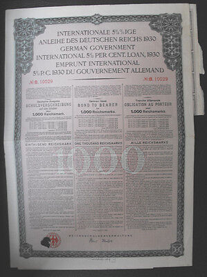 Germany Government International Bond 1000 RM  1930 with coupons cancelled