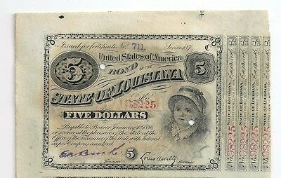 1879 State of Louisiana uncut sheet of $ 5 bonds; issued, attached coupons