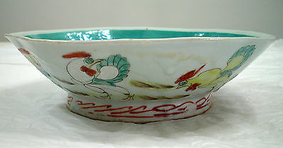 Antique Chinese Export Footed Bowl With Roosters Grapes And Flowers
