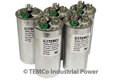 Dual Run Capacitor LOT 5 35/5 MFD uf 370 440 v vac volts AC Motor HVAC