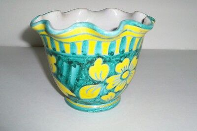 Italy Pottery Yellow Flower Minty Green Ruffled Cachepot Planter Vase