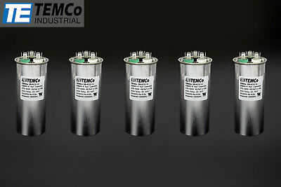 TEMCo 45/5 MFD uF Dual Run Capacitor 370 440 vac Volts 5 LOT AC Motor HVAC 45+5