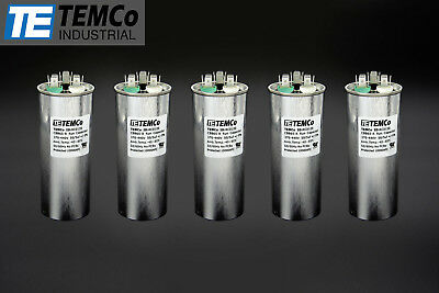 TEMCo 50/5 MFD uF Dual Run Capacitor 370 440 vac Volts 5 LOT AC Motor HVAC 50+5
