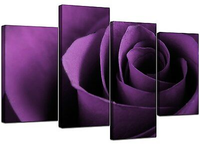 Large Purple Rose Floral Canvas Wall Art Pictures 130cm Prints XL 4112