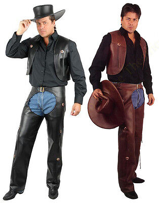 ADULT MENS COWBOY WESTERN COSTUME WILD WEST FAUX LEATHER CROTCHLESS CHAPS PANNTS