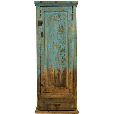 Turquoise Cabinet Reclaimed Rustic Western Southwestern Cabin Lodge Distressed