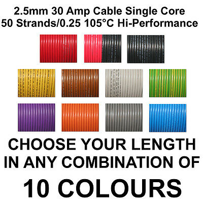 1m YELLOW 2.5mm Tri Rated 30A 50/0.25 Cable Hook Up Equipment Hookup Wire