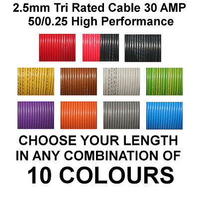 10m YELLOW 2.5mm 30A 12v AUTO CABLE CAR WIRING LOOM WIRE AUTOMOTIVE MARINE BOAT