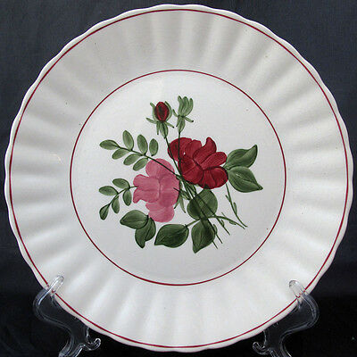 SOUTHERN POTTERIES PINK AND RED FLOWERS RED TRIM COLONIAL EDGE